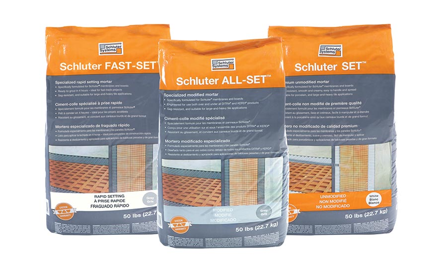 Schluter-Systems' Schluter Set™, Schluter All-Set™, and Schluter Fast-Set™