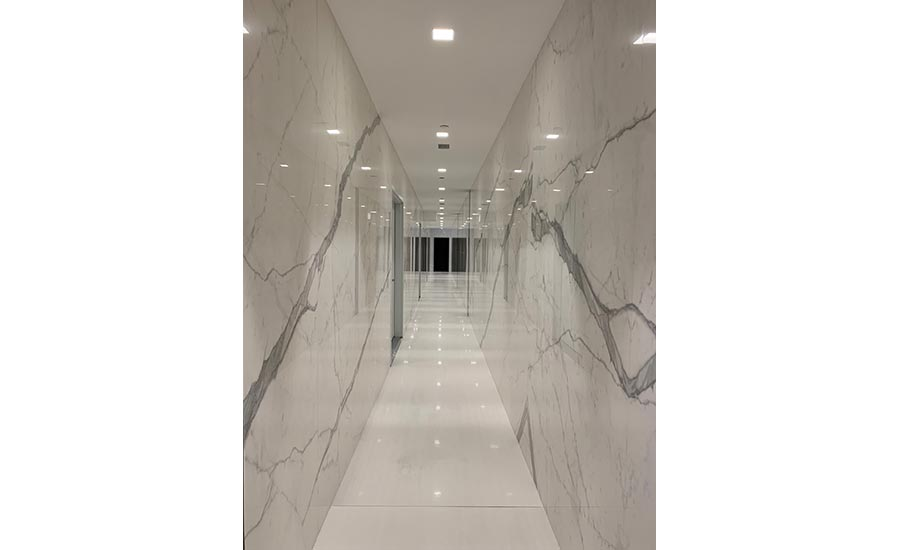 marble-look tile panels