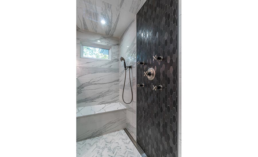 Feature wall in steam shower