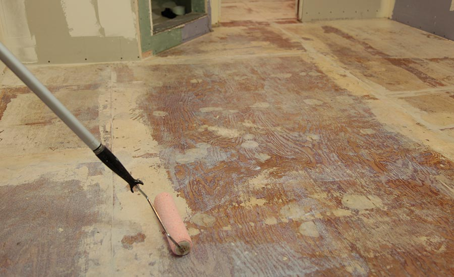 apply primer before installing a lightweight self-leveling underlayment over plywood