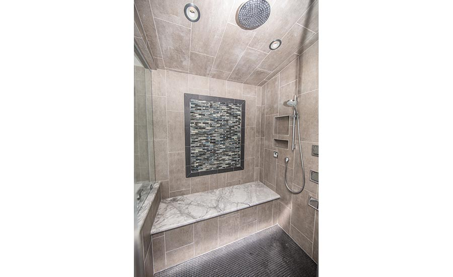 contemporary sanctuary bathroom with mosaic design