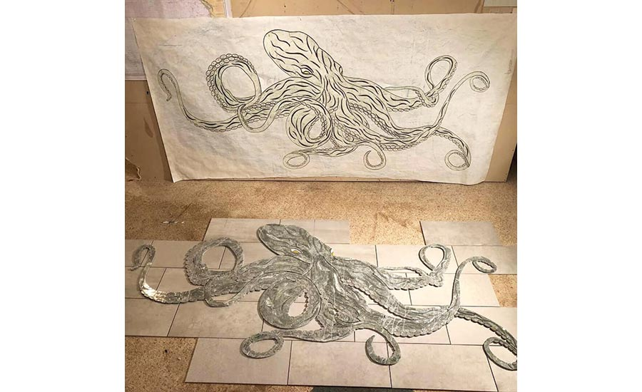The octopus was prefabricated at Nordstrom's tile shop