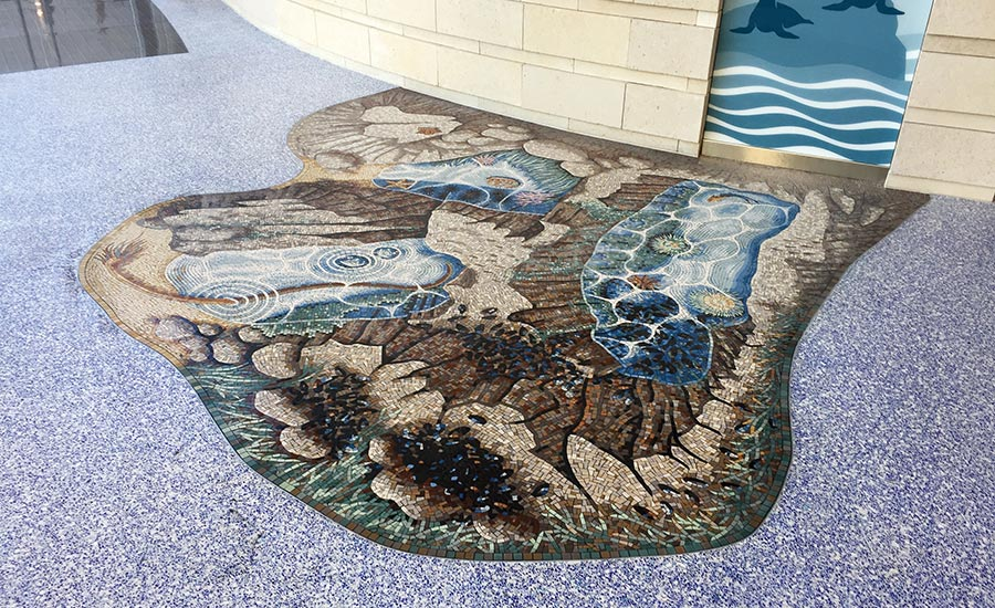 detailed mosaic, which features a rock pool