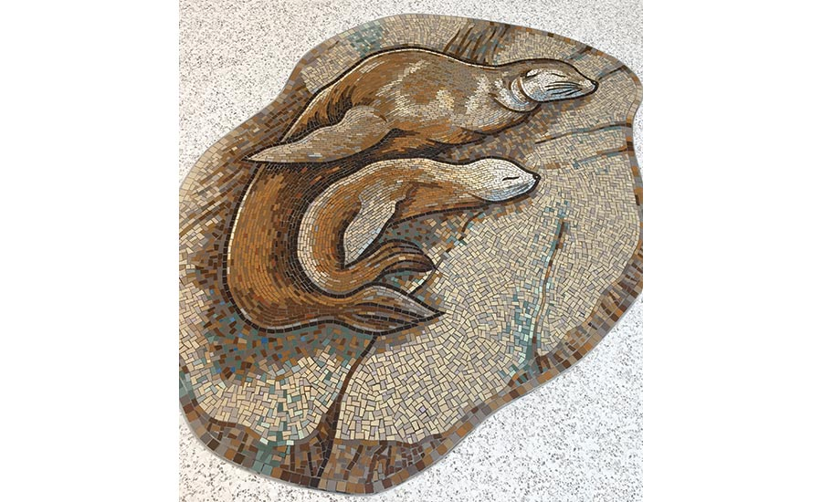 a mosaic of a California sea lion and her cub