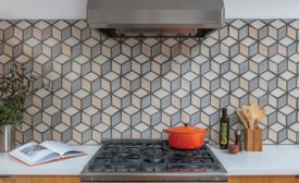 diamond-shaped concrete tiles on kitchen backsplash