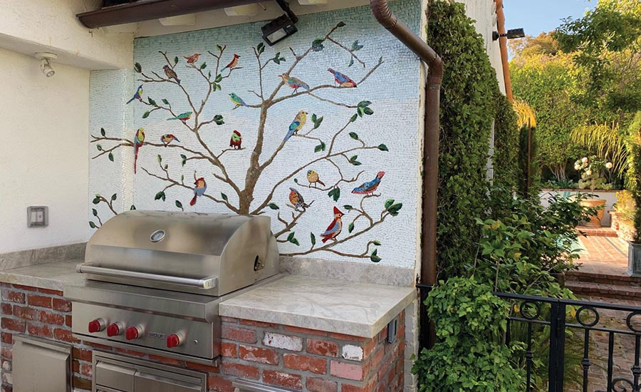 outdoor mosaic mural at a private residence