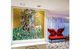 mosaic walls were custom designed