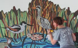 London mosaic artist, Tamara Froud, adding three new birds to existing mosaic at Dulwich College. Photos courtesy of Art Mosaic Design